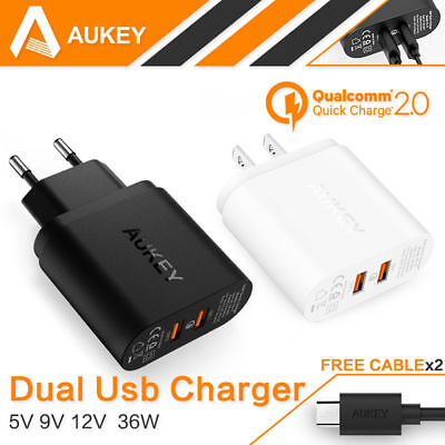 Aukey Quick Charge QC 2.0 Dual ports 36W USB Turbo Wall Charger for Sony LG HTC