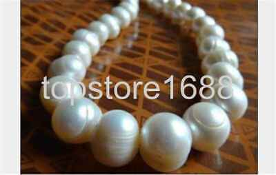 """25"""" Huge 14K 11-12Mm South Sea Genuine White Baroque Pearl Necklace"""