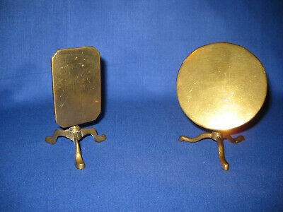 Pair Of Antique Victorian Solid Brass Miniature Table Candle Reflector