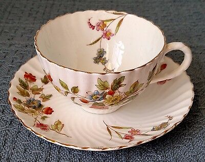 Fluted and Scalloped ~ Porcelain CUP and SAUCER ~ Flowers on Off White ~ England