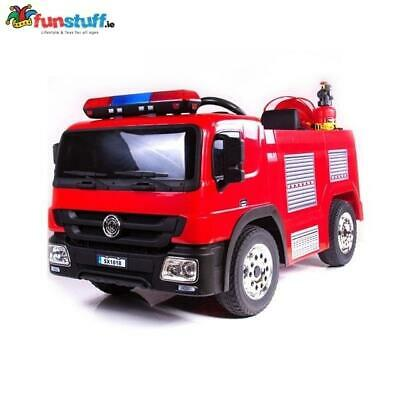 12v Ride On Remote Control Fire Engine Truck Toy Car Rubber Wheels