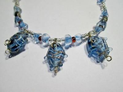 NE176 Necklace Crystal Glass Beads Magnetic Clasp Collar Gold Turquoise Flawless