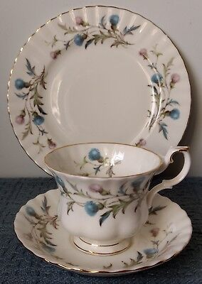 """Royal Albert ~ """"Brigadoon"""" ~ TRIO: FOOTED CUP, SAUCER, and SALAD PLATE ~ Thistle"""