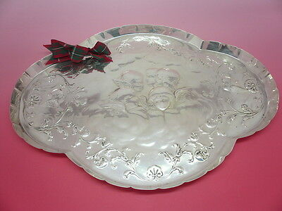 Silver Tray, Sterling, English, Antique, Reynolds Angels, Hallmarked 1902