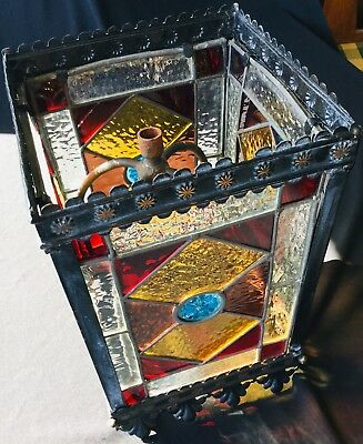 Antique Arts & Crafts Stained Glass Lantern Hall Light Stunning Colours