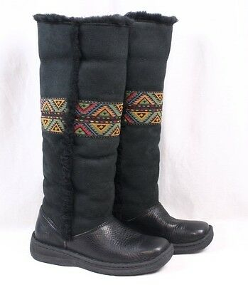 607b33d1b8 BORN Jolie Black Suede Leather Tall Shearling Knee High Winter Boots Women  39 8