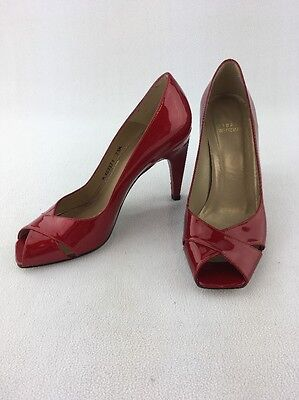 ade1f38d4a1 STUART WEITZMAN CANDY Apple Red Patent Leather Peep Toe Pumps Size 7.5M  B390/