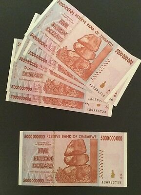 Five Billion Dollar Zimbabwe Notes .  Used.