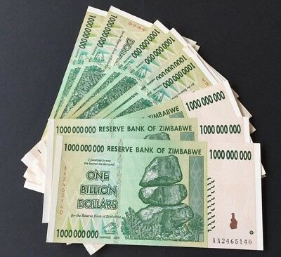 One Billion Dollar Zimbabwe Notes . Very Clean Used.