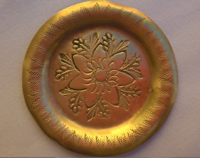 antique 4Pc plate brass handcraft Collectible engraved copper dish platter bowl