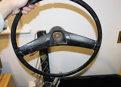 Vintage OEM Black Rubber Steering Wheel For Car Truck Accessory Rat Rod Tractor