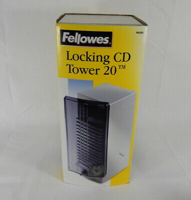 New Fellowes Locking CD Tower 20 Disc Capacity 98200