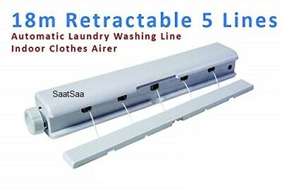18m 5 Line Retractable Washing Line Airer for Indoor & Out Door Laundry Drying