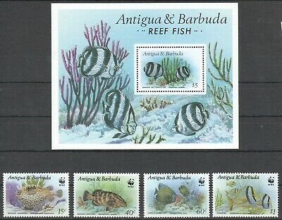 G1317 Antigua & Barbuda Wwf Marine Life Reef Fish 1010-13 Michel 27 € Bl+Set Mnh