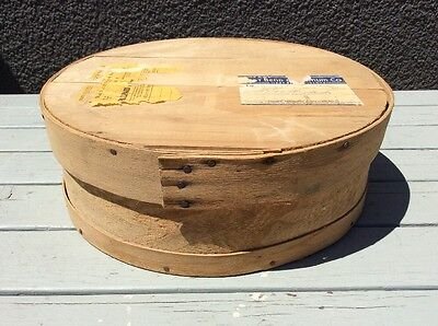 Vintage Bent Wood Round Box Crate Shaker Cheese Shipping Antique Rustic Country