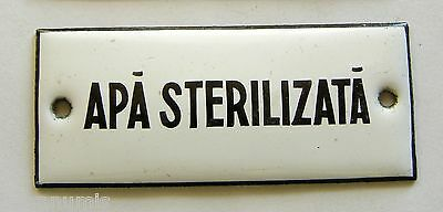 h097 Romania 1920's Antique Metal Enameled Pharmacy Cabinet label Apotecary