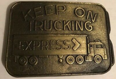 Solid Brass - Keep On Trucking Express Belt Buckle