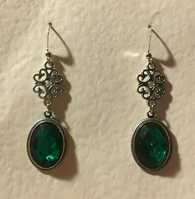 Lacy Filigree Victorian Style Emerald Green Crystal Dark Silver Plated Earrings