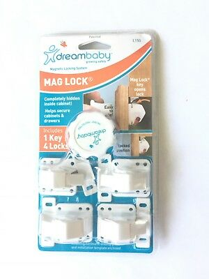 Dream Baby Mag Lock Magnetic Locking System New Package Safety 1 Key 4 Locks