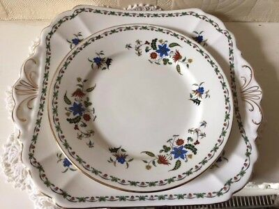 Antique Shelley Pottery Sandwich Tray and Side Plates Chelsea Pattern
