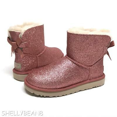 202057b25 UGG Mini BAILEY BOW SPARKLE Glitter Boots Booties SHEARLING Fur LINED 6 NEW  NIB