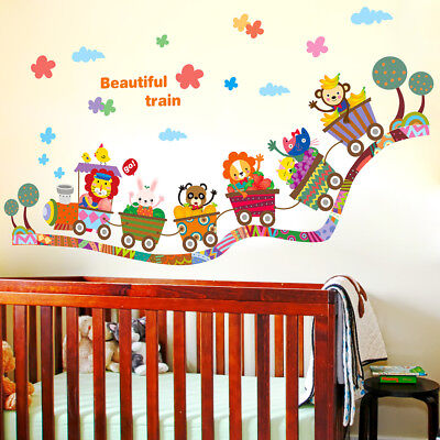 cartoon animal zoo circus train children diy`removable kids wall.stickers decals