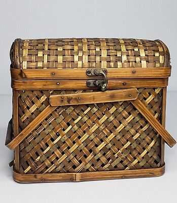 Woven Brown Bamboo Harvest Metal Closure Food Basket With Handles