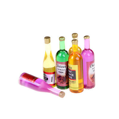 Set of 6Pcs Colorful Wine Bottles Dollhouse Miniature 1:12 Scale TOY Decor BG*HW