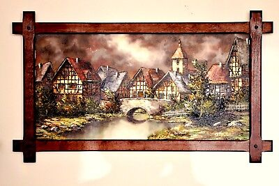 Vintage Large Oil Painting,  Signed by Scholz