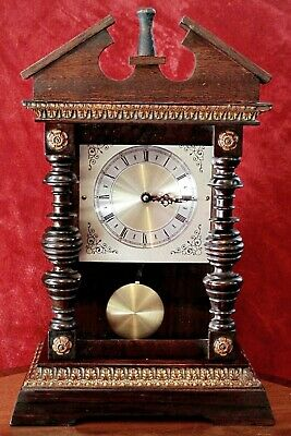 Vintage German Quartz Clock in Antique Oak Case
