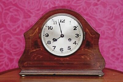 Vintage Art Deco German 'D.R.G.M.' Walnut Mantel 8-Day Clock with Chimes
