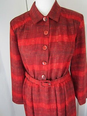 Vintage 90s Chicot 18 Red Patterned Midi Midaxi Shirt Dress Modest Long Sleeved
