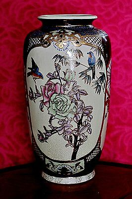 Antique Large Chinese Hand Painted Satsuma Vase