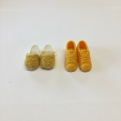 Sindy Doll Yellow Fluffy Slippers Sandals Mule Shoes Pedigree + Free Trainers