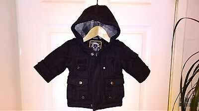Next Black Part Wool Kids Boys Infants Baby Coat Jacket Winter Autumn 3-6 Months