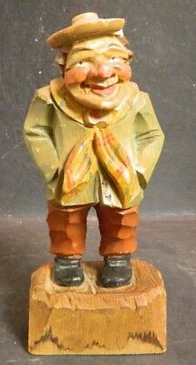 "Vintage Black Forest Wooden Figurine Man In Coat w/ Scarf 7.13"" x 3"" Good Cond"