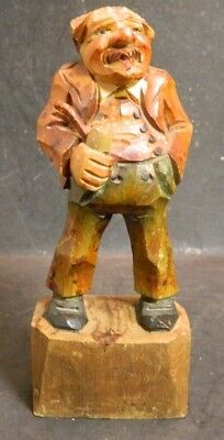 "Vintage Black Forest Wooden Figurine Man w/ Pipe 6.63"" x 2.63"" Good Condition"