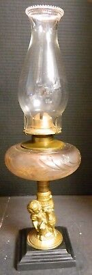 Antique Boy & Lamb Figural Base Embossed Glass Oil Lamp w/Chimney Very Good Cond