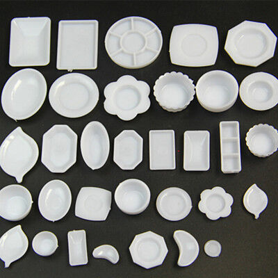 33 Pcs Dollhouse Miniature Tableware Plastic Plate Dishes Set Mini Food G*HWC