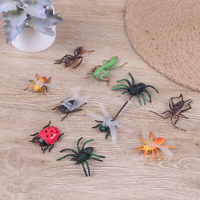 10 Assorted figure realistic bugs plastic insects kisd party bag filler  G*HWC