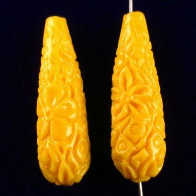 2Pcs 32x23x7mm White Giant Clam Carved Flower Pendant Bead A66464