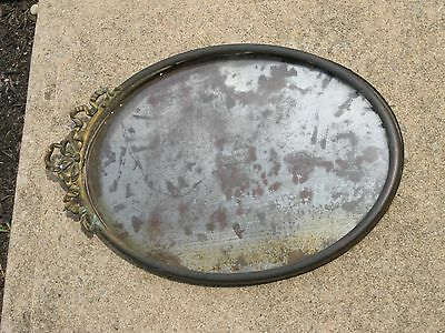 Antique Convex Bubble Glass Oval Picture Frame Tin ? Brass Metal