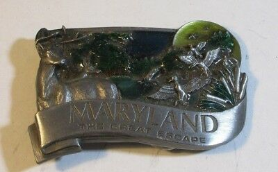 "Vintage ~ 1986 Maryland ""The Great Escape"" Pewter Belt Buckle. Deer"
