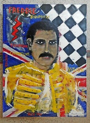 "NEW ANTONIO ALBA DIAS ""Freddie Mercury"" Queen Rock Bohemian Oil PAINTING"