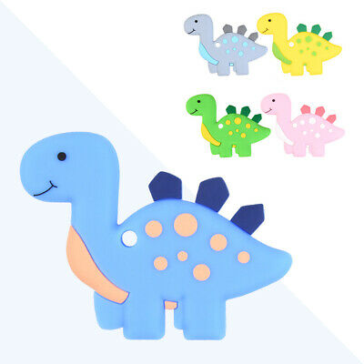 Silicone Animals Dinosaur Baby Teether Teething Pendant Necklace BPA Chew Toy AU