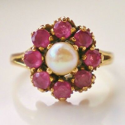 Stunning Antique Art Deco 9ct Gold Ruby & Pearl Flower Head Cluster Ring c1923