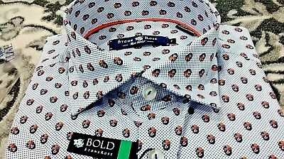 NWT Stone Rose men/'s size 2 or small short sleeve button down shirt,geometric