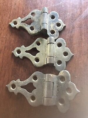 Set Of 3 Antique Ornate Brass Hinges