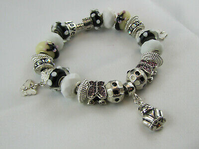 "FREE POST 925 SILVER STAMPED 20 cm EUROPEAN STYLE CHARM BRACELET "" CAT & MICE """