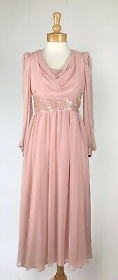 VTG 70s Goddess Blush Pink Sheer Chiffon Draped Cowl Sequin Wedding Maxi Dress S